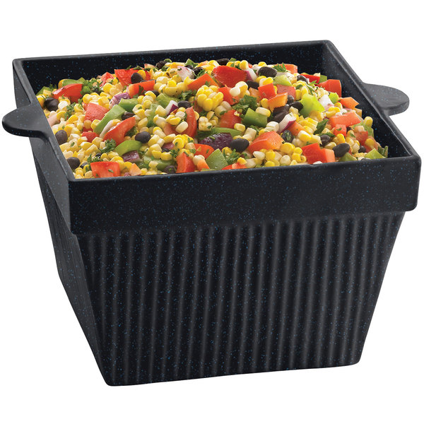 Tablecraft CW1490MBS 6.5 Qt. Midnight with Blue Speckle Cast Aluminum Square Bowl