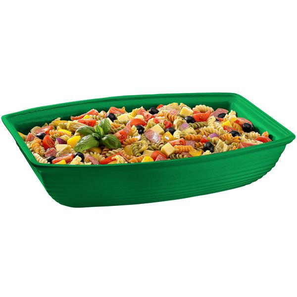 Tablecraft CW3190GN 10.5 Qt. Green Cast Aluminum Oblong Salad Bowl