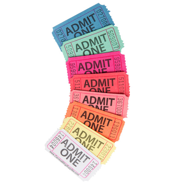 carnival king yellow 1-part  u0026quot admit one u0026quot  tickets  roll