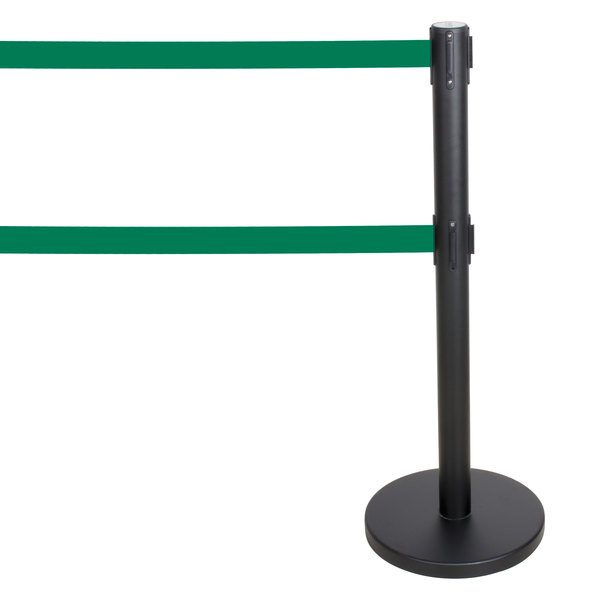 """Aarco HBK-27 Black 40"""" Crowd Control / Guidance Stanchion with Dual 84"""" Green Retractable Belts"""
