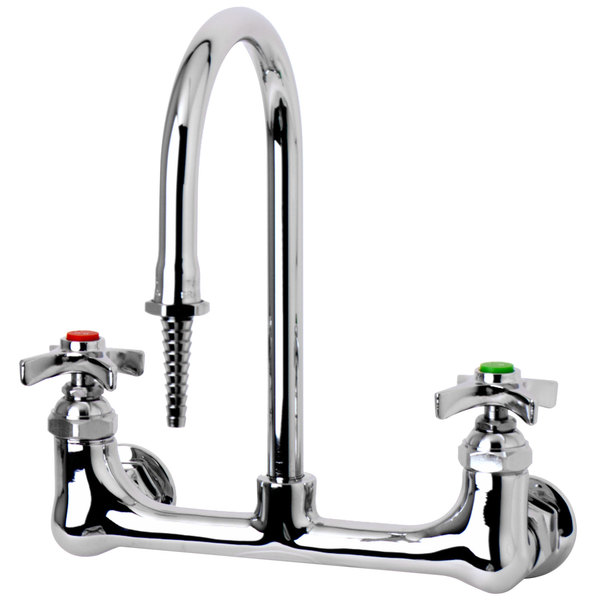 "T&S BL-5725-09 Wall Mount Mixing Faucet with 8"" Adjustable Centers, 9 1/2"" Tall Nozzle, Serrated Tip, 4 Arm Handles, and Vacuum Breaker"