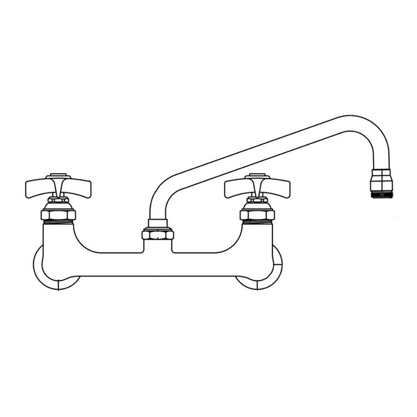 "T&S BL-5775-01 Single Hole Deck Mount Mixing Lab Faucet with 4"" Centers, 9"" Swing Nozzle, and 4 Arm Handles"