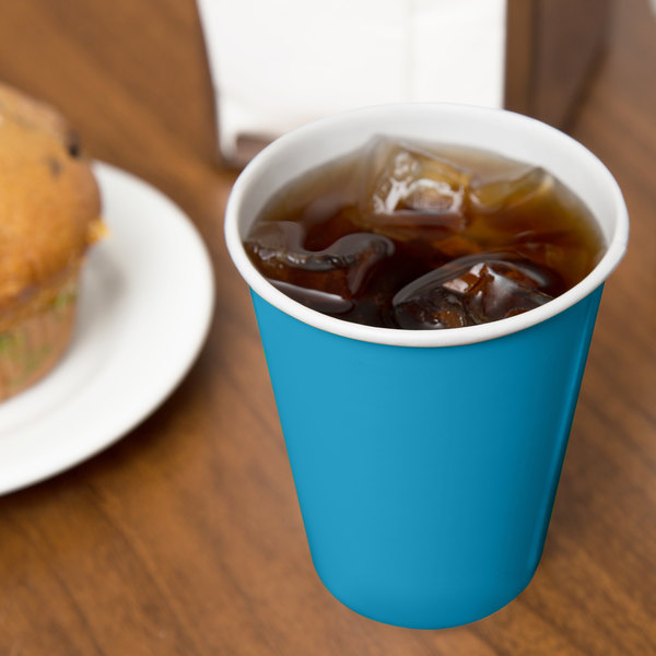 Creative Converting 563131B 9 oz. Turquoise Poly Paper Hot / Cold Cup - 240/Case