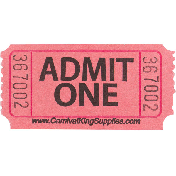 carnival king pink 1 part admit one tickets 2000 roll