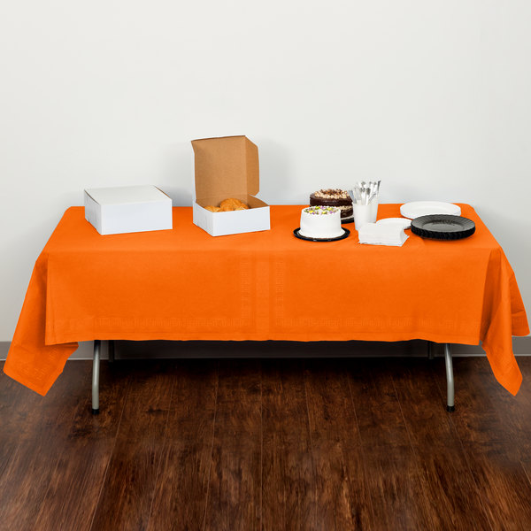 """Creative Converting 710237 54"""" x 108"""" Sunkissed Orange Tissue / Poly Table Cover - 6/Case Main Image 5"""