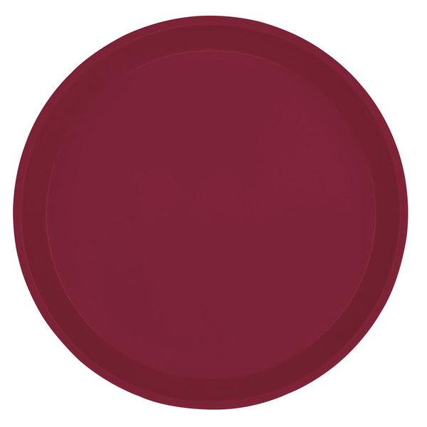 "Cambro 1950522 19 1/2"" Low Profile Round Burgundy Wine Customizable Fiberglass Camtray - 12/Case"