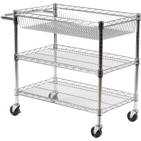 Luxor LICWT2918 Three Shelf Wire Mail Cart Adjustable - 18\