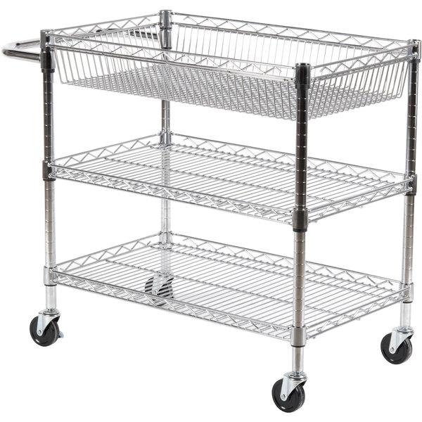 "Luxor LICWT2918 Three Shelf Wire Mail Cart Adjustable - 18"" x 30"" x 30"""