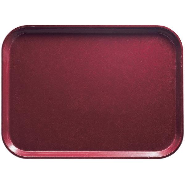 "Cambro 1216522 12"" x 16 5/16"" Rectangular Burgundy Wine Customizable Fiberglass Camtray - 12/Case"