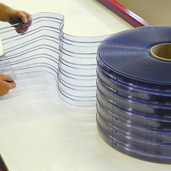 """Curtron QSRIP-12X10-OSDR 12"""" x 123"""" Ribbed Pre-Cut Replacement Door Strips - 7/Roll Main Image 1"""
