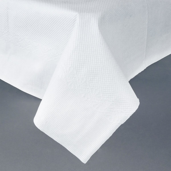 54 inch x 54 inch White Tissue / Poly Table Cover - 50/Case