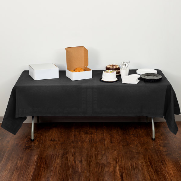 "Creative Converting 710126B 54"" x 108"" Black Velvet Tissue / Poly Table Cover - 24/Case Main Image 5"