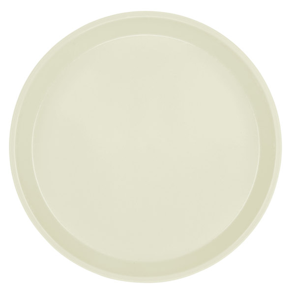 "Cambro 1950538 19 1/2"" Low Profile Round Cottage White Customizable Fiberglass Camtray - 12/Case"