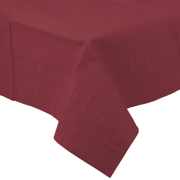 Creative Converting 713122 54 inch x 108 inch Burgundy Tissue / Poly Table Cover - 6/Case