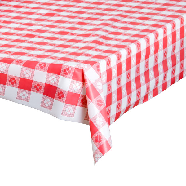 Atlantis Plastics 1504100 Red Gingham Patterned Plastic Table Cover