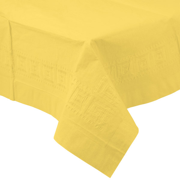 Creative Converting 710228 108 inch x 54 inch Mimosa Yellow Tissue / Poly Table Cover - 25/Case