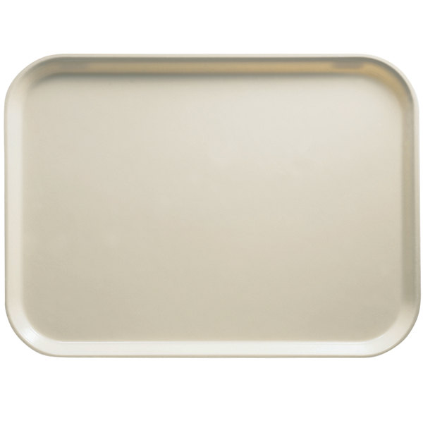 "Cambro 3253538 12 3/4"" x 20 7/8"" (32,5 x 53 cm) Rectangular Metric Cottage White Customizable Fiberglass Camtray - 12/Case"
