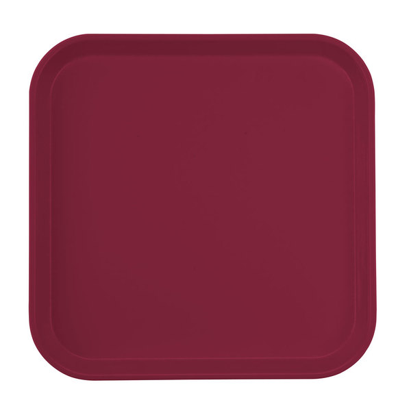 "Cambro 1313522 13"" x 13"" (33 x 33 cm) Square Metric Burgundy Wine Customizable Fiberglass Camtray - 12/Case"