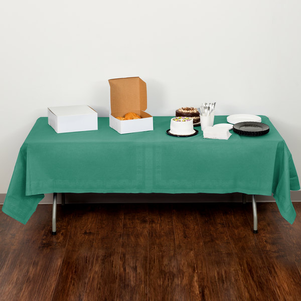 """Creative Converting 713124 54"""" x 108"""" Hunter Green Tissue / Poly Table Cover - 6/Pack Main Image 5"""