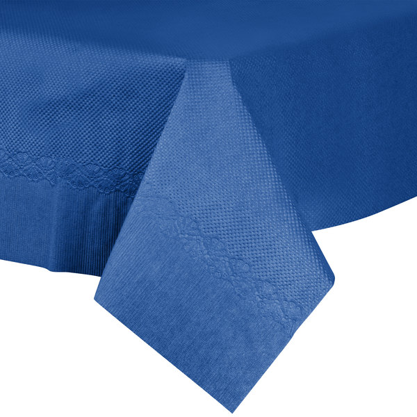 "54"" x 54"" Navy Blue Tissue / Poly Table Cover - 50/Case"