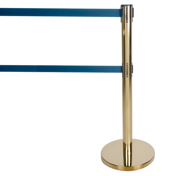 """Aarco HB-27 Brass 40"""" Crowd Control / Guidance Stanchion with Dual 84"""" Blue Retractable Belts"""