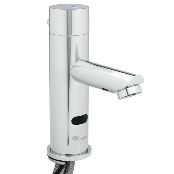 """T&S EC-3106-VF05 Vandal Resistant Chrome Plated Brass Electronic Hands Free Faucet with 8 3/4"""" 0.5 GPM Deck Spout, AC/DC Control Module, Flow Control, Temperature Control, and 18"""" Supply Hoses"""
