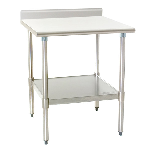 """Eagle Group T2436B-BS 24"""" x 36"""" Stainless Steel Work Table with Backsplash and Galvanized Undershelf"""
