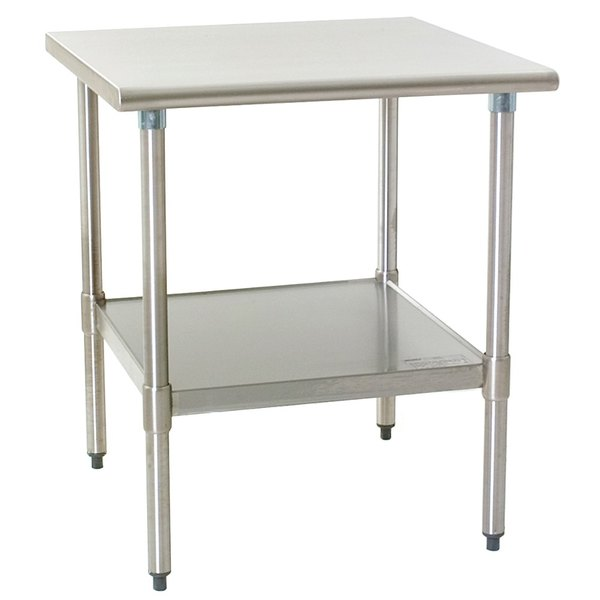 """Eagle Group T3030SEB 30"""" x 30"""" Stainless Steel Deluxe Work Table with Stainless Steel Undershelf"""