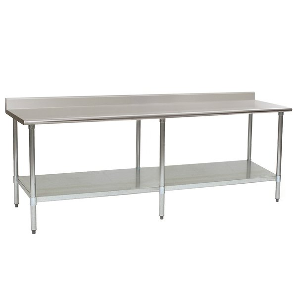 """Eagle Group T3096B-BS 30"""" x 96"""" Stainless Steel Work Table with Backsplash and Galvanized Undershelf"""
