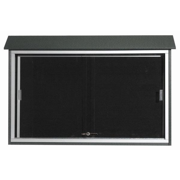"Aarco PLDS3045L-4 30"" x 45"" Green Outdoor Plastic Lumber Message Center with Letter Board - Sliding Door"