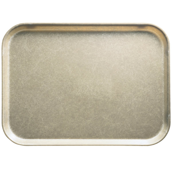 "Cambro 1520104 15"" x 20 1/4"" Rectangular Desert Tan Customizable Fiberglass Camtray - 12/Case"
