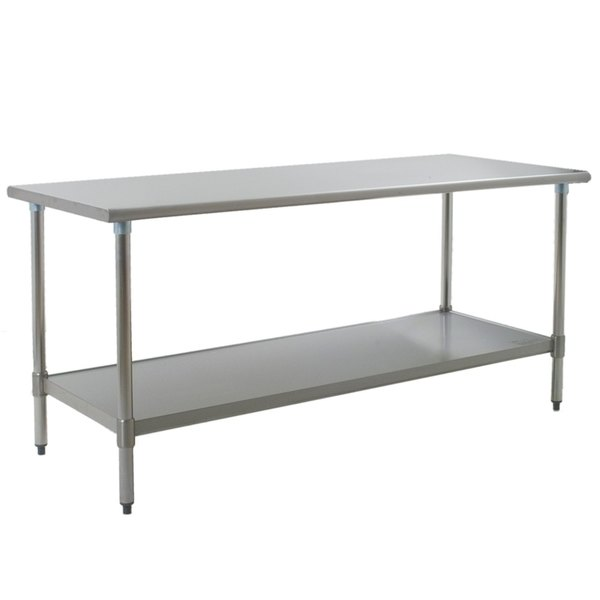 "Eagle Group T3072SEB 30"" x 72"" Stainless Steel Deluxe Work Table with Stainless Steel Undershelf"