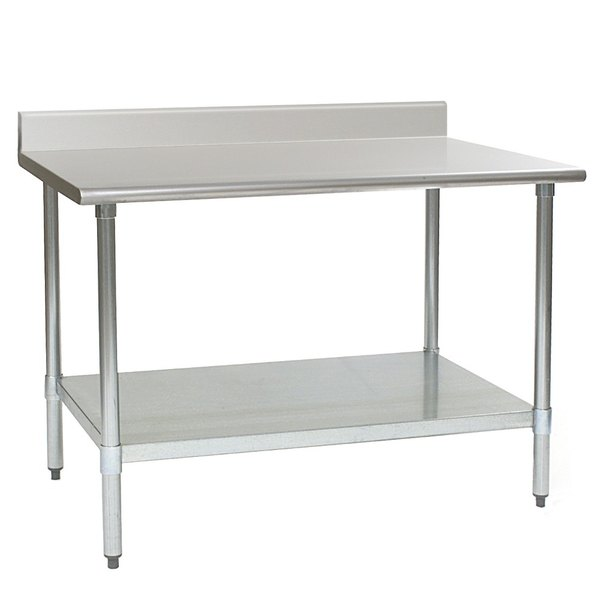 """Eagle Group T2448SEB-BS 24"""" x 48"""" Stainless Steel Deluxe Work Table with Backsplash and Stainless Steel Undershelf"""