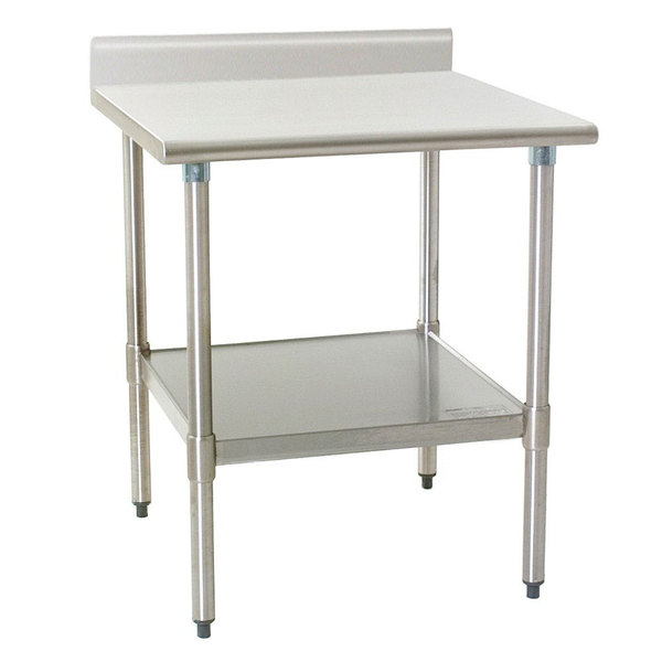 "Eagle Group T3036B-BS 30"" x 36"" Stainless Steel Work Table with Backsplash and Galvanized Undershelf"