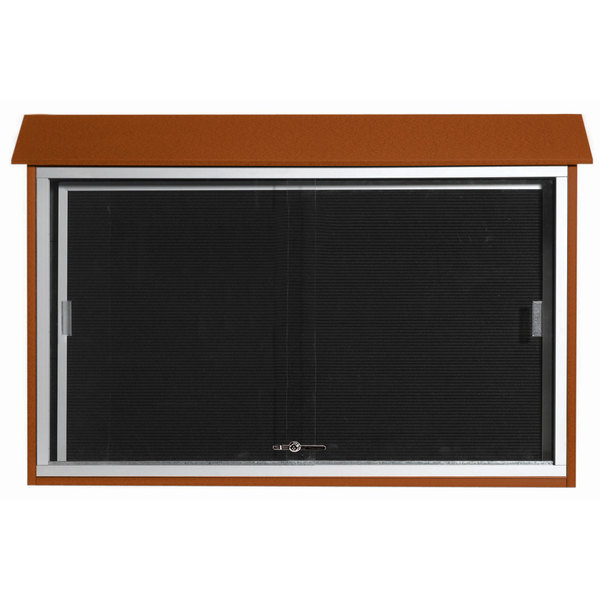 """Aarco PLDS3045L-5 30"""" x 45"""" Cedar Outdoor Plastic Lumber Message Center with Letter Board - Sliding Door"""