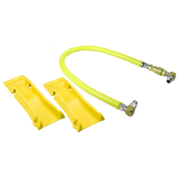 """T&S HG-4C-60S-PS Safe-T-Link 60"""" Coated Gas Connector Hose with Swivel Link Fittings, Quick Disconnect, 90 Degree Elbows, and POSI-SET Wheel Placement System Main Image 1"""