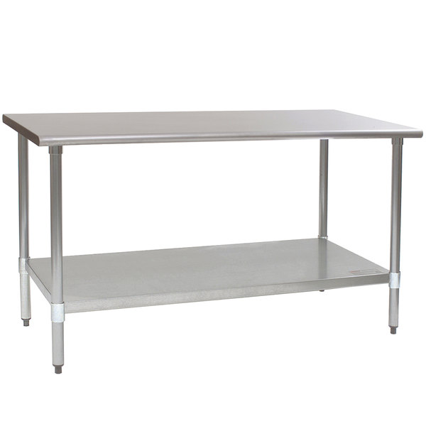 stainless steel work table with top shelf cabinets eagle group galvanized workbench casters