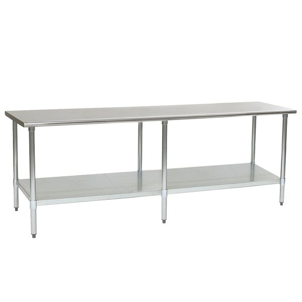 """Eagle Group T2496SEB 24"""" x 96"""" Stainless Steel Deluxe Work Table with Stainless Steel Undershelf Main Image 1"""