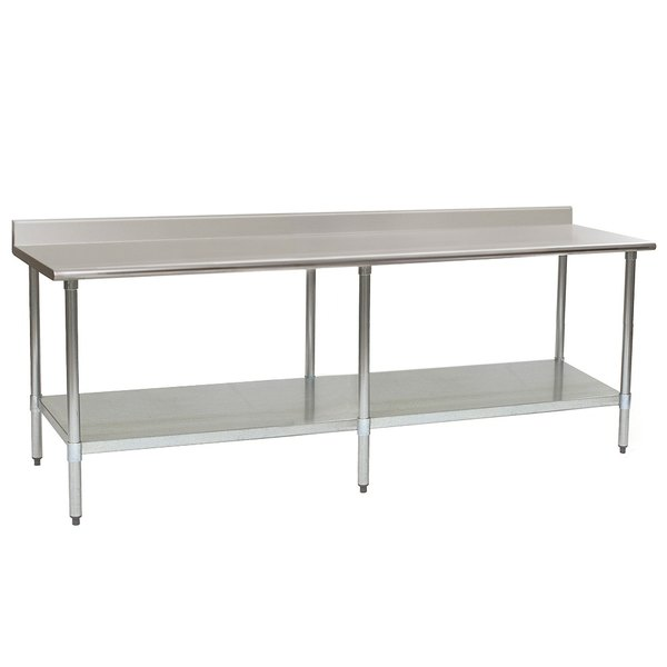 "Eagle Group T3096SEB-BS 30"" x 96"" Stainless Steel Deluxe Work Table with Backsplash and Stainless Steel Undershelf"