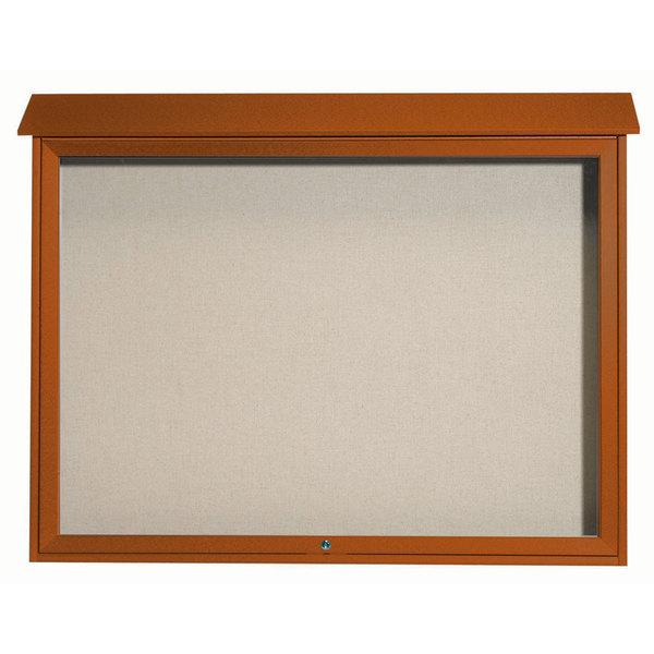 """Aarco PLD4052T-5 40"""" x 52"""" Cedar Outdoor Plastic Lumber Message Center with Vinyl Tackboard - Single Top Hinged Door"""