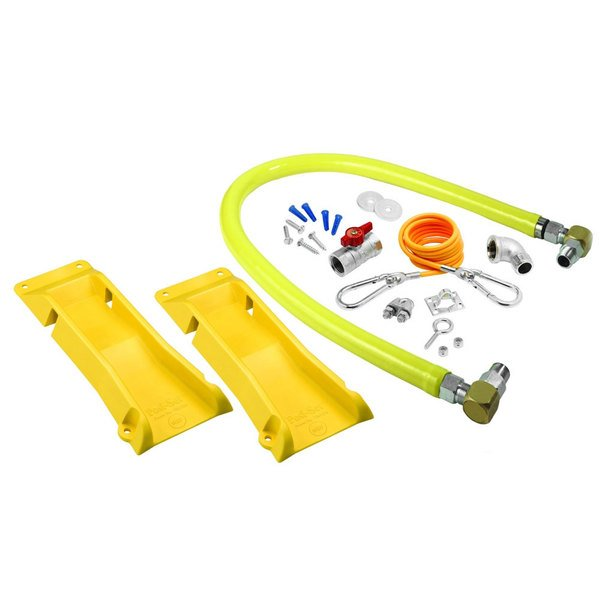"""T&S HG-2D-48SK-PS Safe-T-Link 48"""" Coated Gas Connector Hose with Swivel Link Fittings, 90 Degree Elbow, Restraining Cable, Street Elbow, Ball Valve, and POSI-SET Wheel Placement System"""