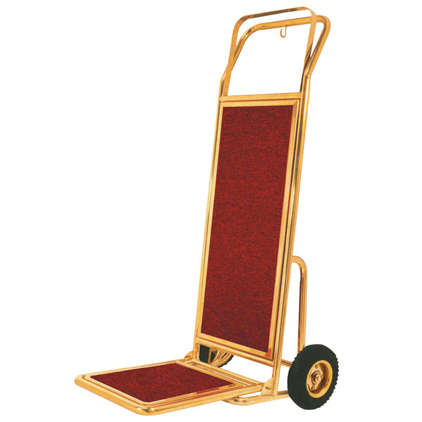 """Aarco HT-2B Bellman's Stainless Steel Brass Finish Carpeted Luggage Cart / Hand Truck - 19"""" x 15"""" x 48"""" Main Image 1"""