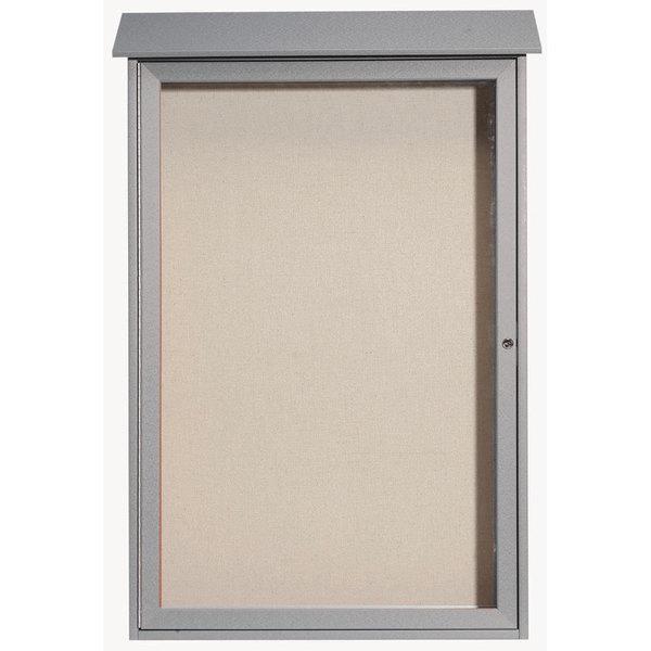 """Aarco PLD4832-2 48"""" x 32"""" Light Gray Outdoor Plastic Lumber Message Center with Vinyl Tackboard - Single Hinged Door"""