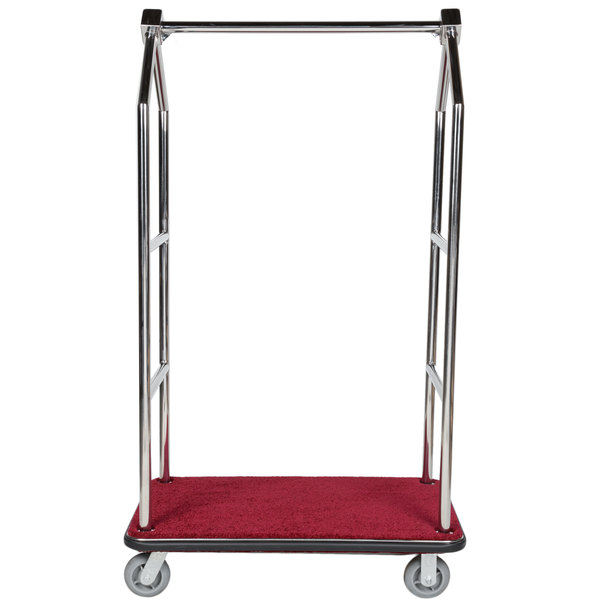 """Aarco LC-2C Stainless Steel Chrome Finish Luggage Cart with Clothing Rail - 42"""" x 24"""" Platform"""