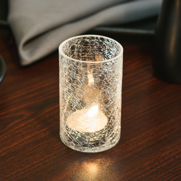 Sterno Products 80272 Clear Crackle One Piece Glass Liquid Candle Holder