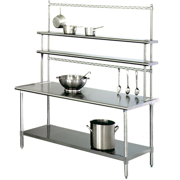 "Eagle Group T3072SE-FM-PL 30"" x 72"" Stainless Steel Spec-Master Work Table with Flex-Master Overshelf Kit and Pot Racks"
