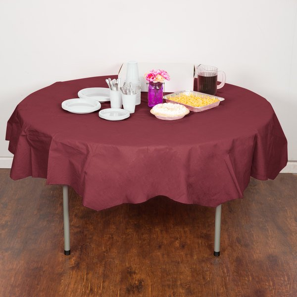 """Creative Converting 923122 82"""" Burgundy OctyRound Tissue / Poly Table Cover - 12/Case"""