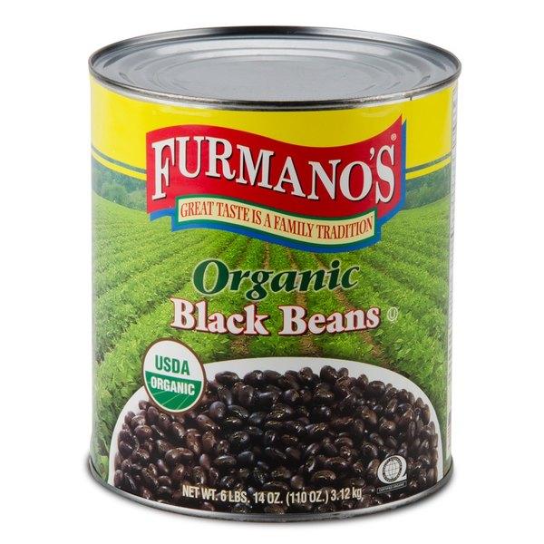 Furmano's #10 Can Organic Black Beans in Brine - 6/Case