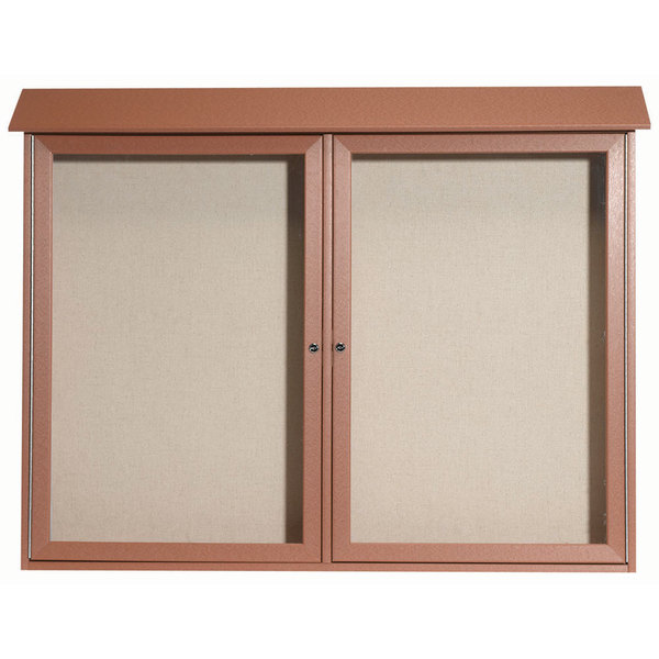 """Aarco PLD4052-25 40"""" x 52"""" Cedar Outdoor Plastic Lumber Message Center with Vinyl Tackboard - Dual Hinged Doors"""