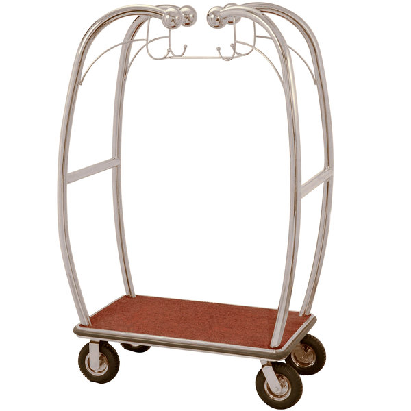 "Aarco BEL-101C Stainless Steel Chrome Finish Luggage Cart with Hooks - 47"" x 25"" x 73"" Main Image 1"